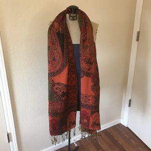 Accessories - Red Pashmina Wrap Scarf